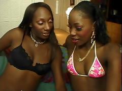 Two hot ebony lesbians lick eachothers pussy
