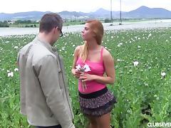 Beautiful European girlfriend enjoys sex in the outdoors