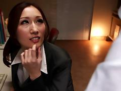 Beautiful clothed Japanese bitch fucked in the office