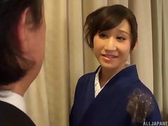 Hardcore sex in a kimono with a cute Japanese girl