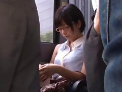 Shameless Japanese slut sucks two guy's cock out in public