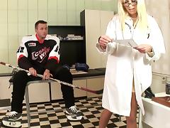 Slutty blonde doctor gets fucked hardcore by a hockey player