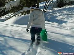 Extra-ordinary outdoors scene in snowy grounds along impatient teen girl