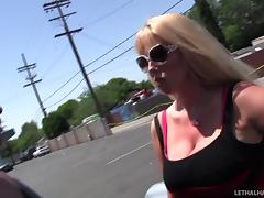 Foot fetish milf takes a hard cock while fondling her melons