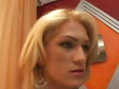 Blonde TS eats dick greedily before anal