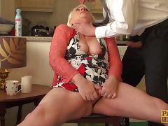 Horny granny teased by a man and made to rub her old cunt
