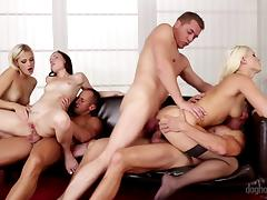 Hotties fill the room with hardcore fucking in a fantastic orgy