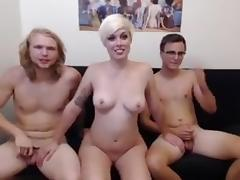 short blonde takes on 2 dicks