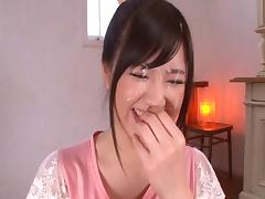 Feisty Japanese amateur thrilled as she gets nailed on a couch