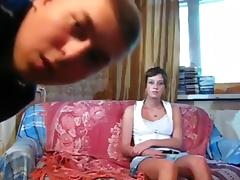 Russian girl couple sofa sextape