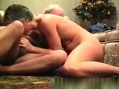 Grandma and grandpa fuck under the christmas tree