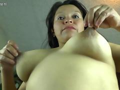 Horny Latin mature housewife playing with her hairy pussy