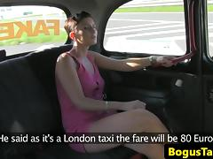 Euro amateur fucked hard on backseat of taxi