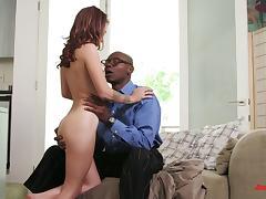 White bitch with natural tits enjoys interracial sex with BBC