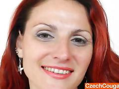 Fantastic European redhead MILF masturbating while wearing pantyhose