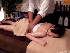 Japanese girl gets fingered and fucked by the massage therapist
