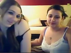 2 brunettes and a lucky guy fool around on cam