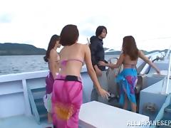 Kinky Japanese MILF bitches have group sex on a fancy boat