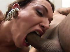 Vivacious dark-haired tranny with fantastic juggs and long sexy legs enjoying hardcore sex