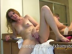 Lacy Has a Pre-shower Masturbation Session