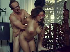 Amazingly busty babe in glasses fucks a man like a professional whore