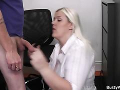 He uses busty blonde women at work