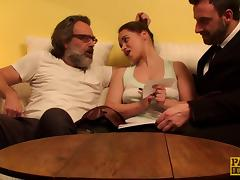 Bearded guy presents the lovely gal with his sticky load