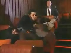 Mature amateur bitch enjoys gangbang sex in a cinema