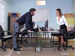 Classy bitch with fake tits gets fucked at the office