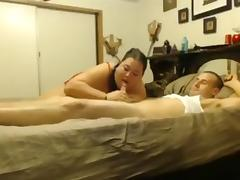 Huge bbw gives her skinny bf a blowjob