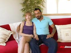 Cute teenage honey with small tits fucking a more experienced guy