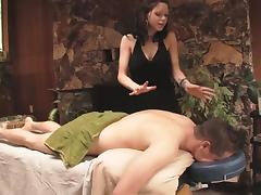 Slutty masseuse lets the client fuck her wet pussy hardcore
