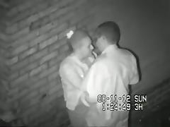 Security cam tapes a partyslut having sex in an alley