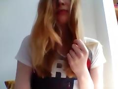 Ginger girl with an amazing body gets a shocking orgasm