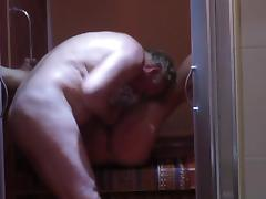 older fat couple fucks in the shower
