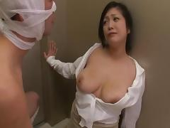 Naughty Asian chick with glasses enjoying a hardcore doggy style fuck