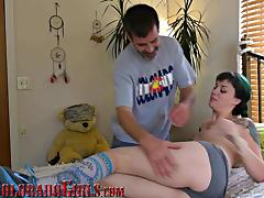 Adorable Tattooed Girl Fucks Mature Roommate For A Massage