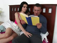 Pale beauty rides the dick with her pink shaved cunny