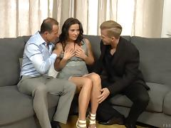 Sweet-looking senorita gets rewarded with a nice threesome pounding