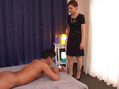 Mio gives him an oily massage then sits on his fat cock