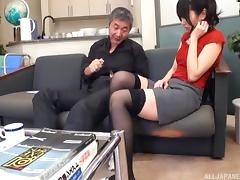 Wanking to the hot Japanese girl and cumming on her face