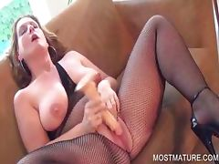 Mom, Aged, Blonde, Cougar, Dildo, Granny