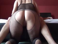 Round ass spanking catsuit, than fuck