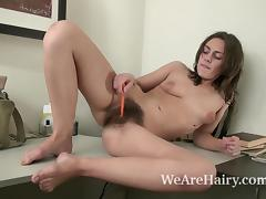 Dominique masturbates with her favorite pen