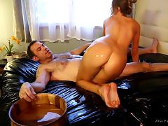 Erotic nuru massage where she gives him a rub down then fucks him