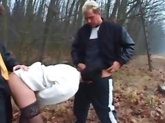Dogging - older wife fuck by two Dudes's near the forest