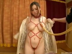 Curvy girl on a leash used by two guys with stiff cocks