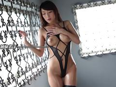 Candle lit seduction and sex with an oiled Japanese girl