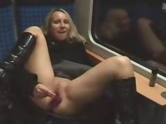Amateur - Hot Blond Train Dildo Pussy and Arse