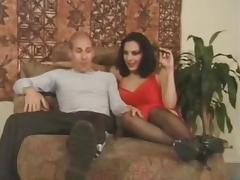 Lingeried shemale girl drills a chap